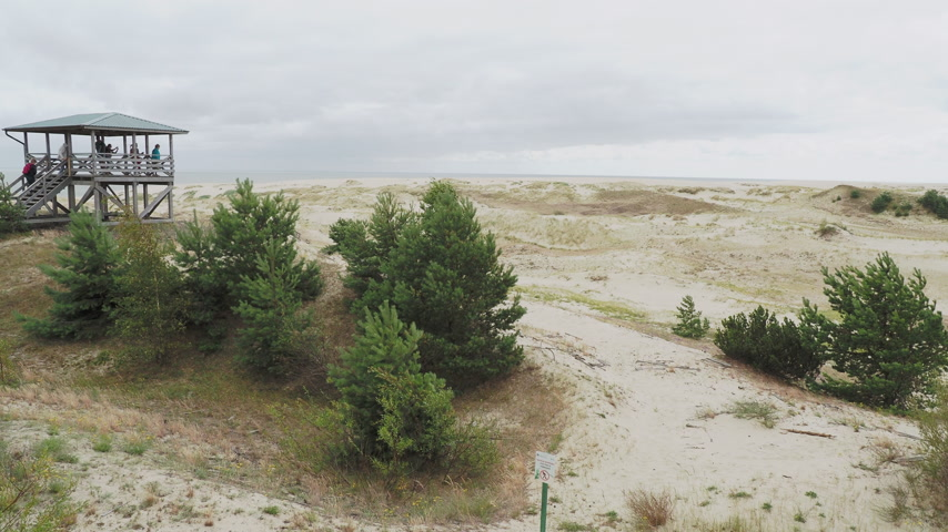 плевать : KALININGRAD, RUSSIA - July 21, 2019. Tourists on viewpoint on Curonian Spit.