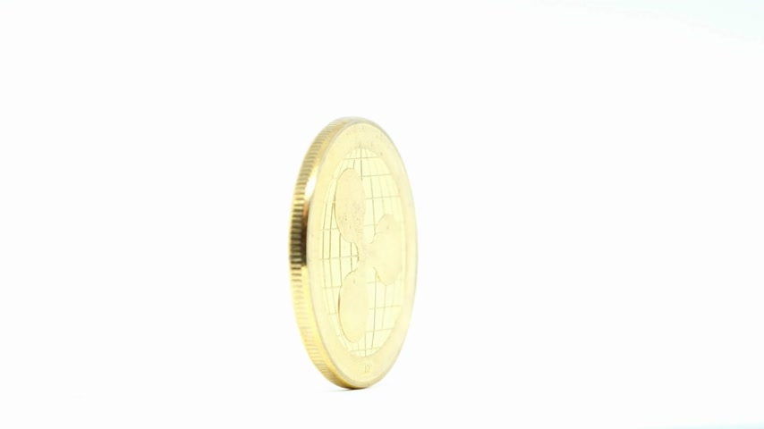 value clips : Ripple coin rotating on white background Stock Footage