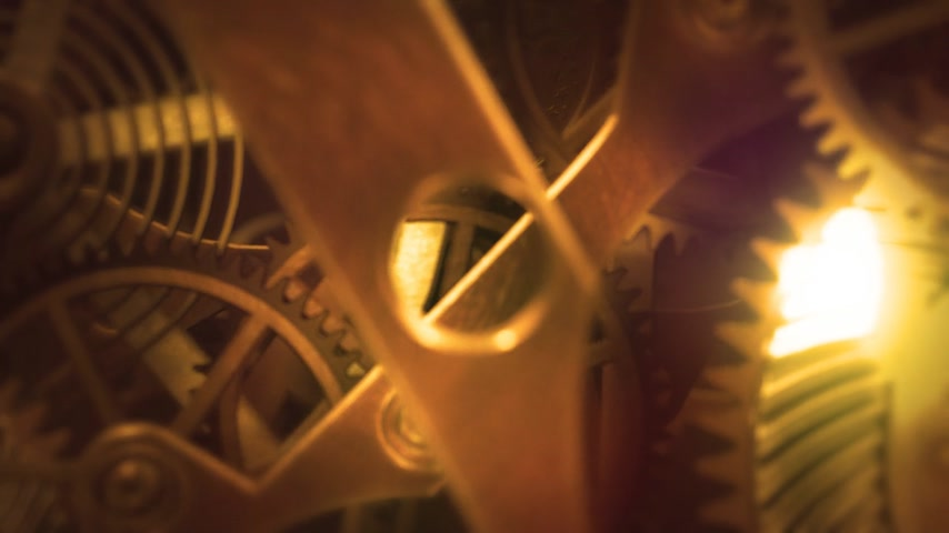 time machine : Inside a clock, infinite zoom into the clockwork mechanism. A 3d animation. Stock Footage