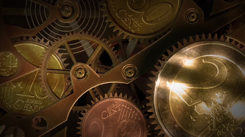urychlit : Clock with coins in place of gears. Time is money.  A nice business background for any videos or presentations related money, funds, banking or economy. Looping animation.