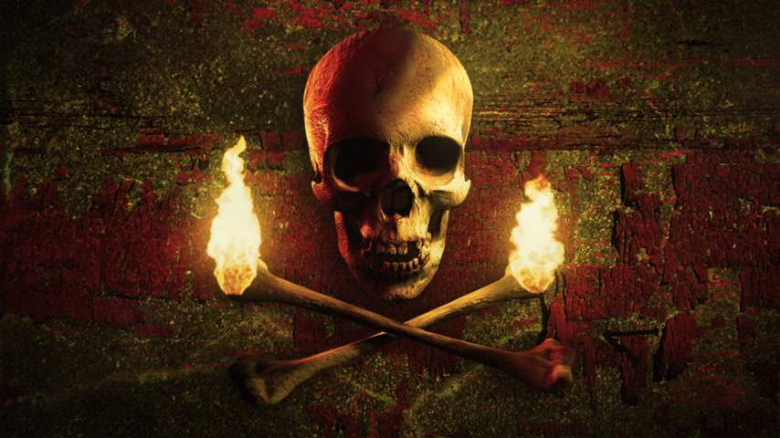 pirat : Skull and torches made of bones on a grunge background. Pirate flag symbol. Loop. Wideo