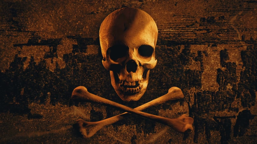 pirat : Skull and bones on old wood background. Pirate flag symbol. Wideo