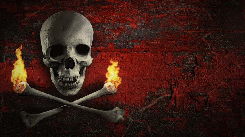 pirat : Black and white skull and torches made of bones on a grunge background. Pirate flag symbol. Loop. Wideo