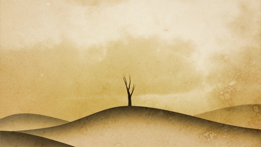 büyüyen : Timelapse of a growing tree on sepia graphical background. Side composition.