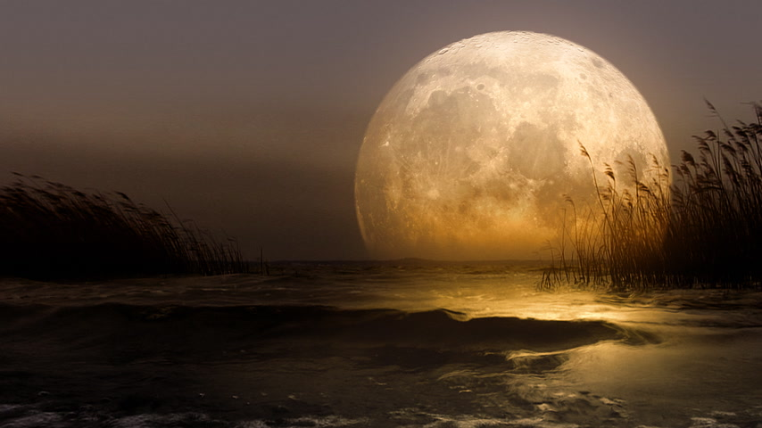 fantasy fantastic : Huge fantastic moon reflecting in the lake. Version 2. Stock Footage