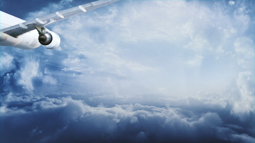 uçan : Passenger jet flying above the clouds towards the horizon. Blue version.