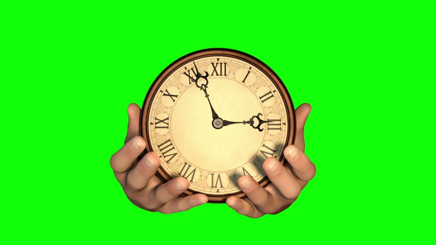 rövid : Passing of time. Hands holding fast turning clock. Green screen version.