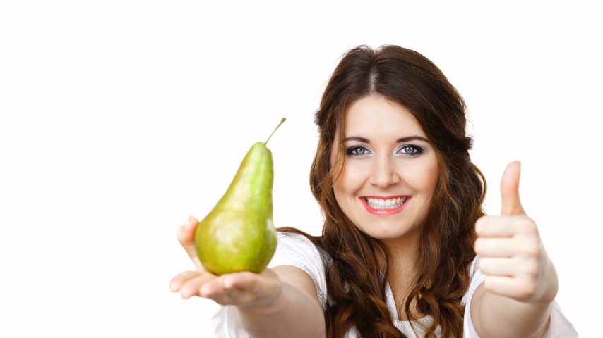 pears : Woman recommend to eat pear fruit, isolated