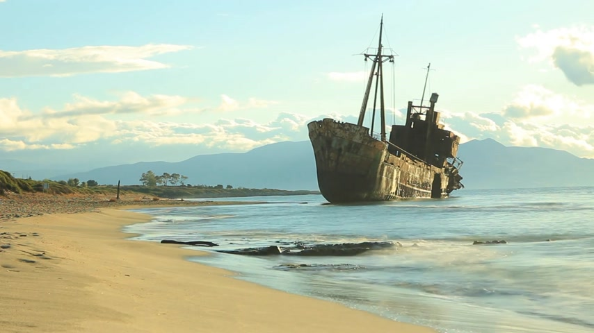 laconia : The famous shipwreck near Gythio Greece