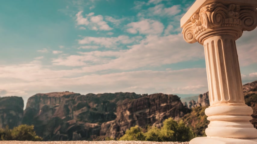 Řecko : Greek column and huge rocks in Meteora Greece time lapse