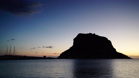 laconia : Monemvasia island at morning timelapse 4K Stock Footage