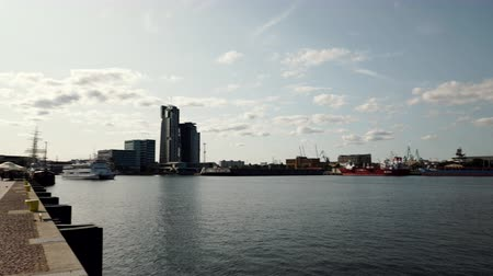 cityspace : View for Gdynia city at Baltic Sea on 24 August 2017 4K Stock Footage