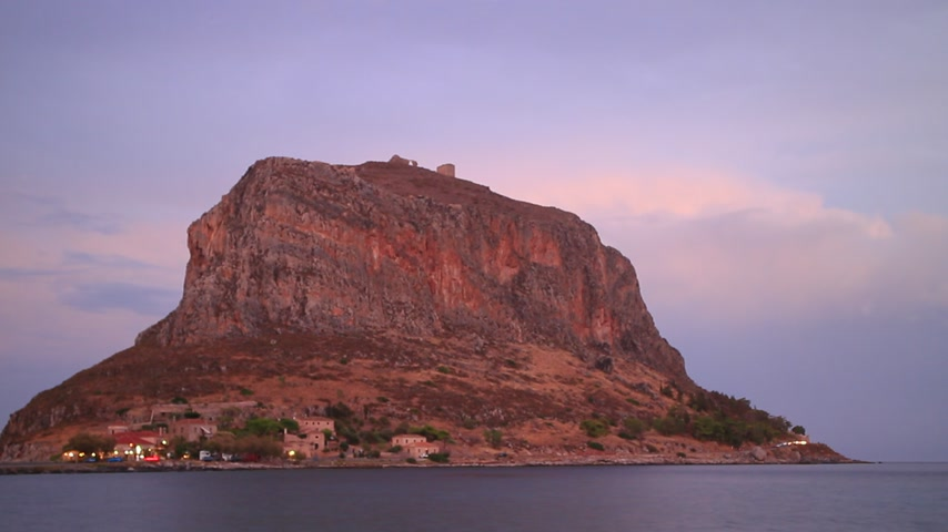 laconia : Monemvasia island at sunset timelapse Stock Footage