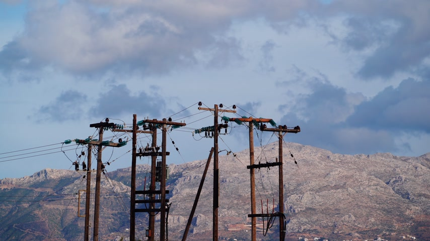 powerline : High voltage towers in mountains