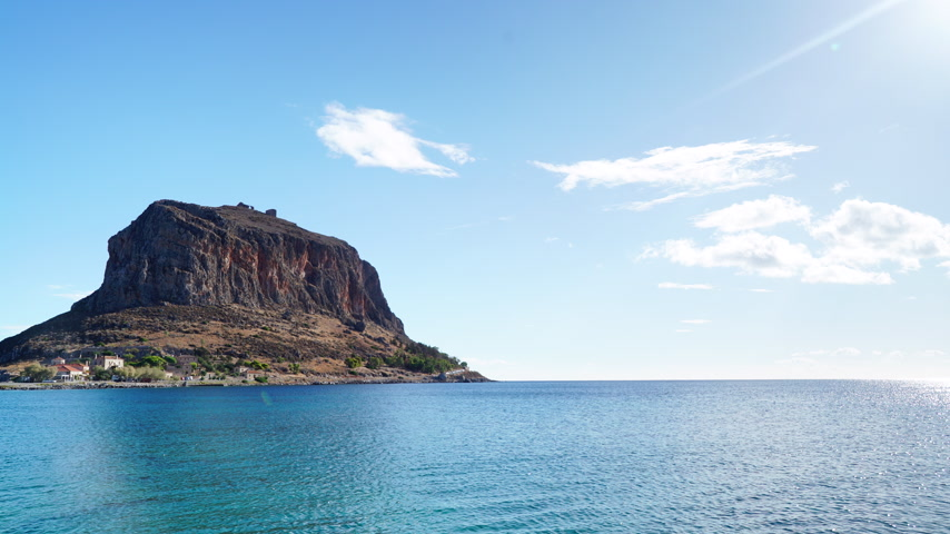 laconia : View of Monemvasia island in Greece timelapse Stock Footage