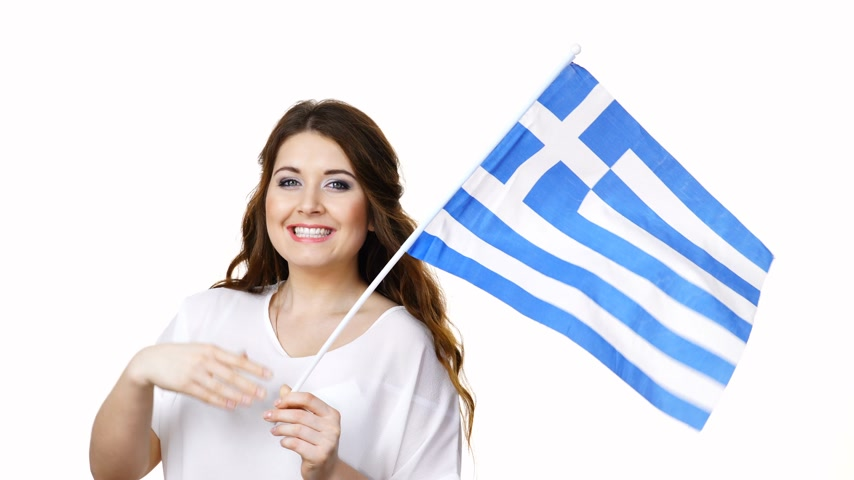 здесь : Woman with greek flag inviting gesture