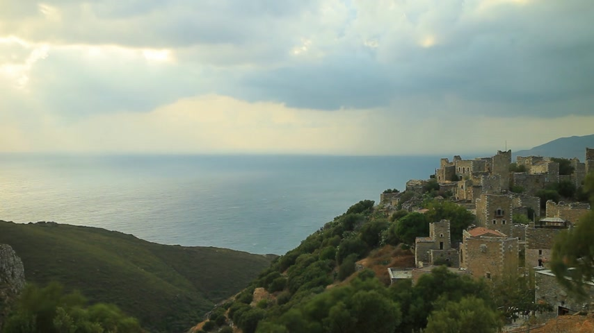 laconia : Old tower houses in Vathia Greece Mani Peninsula time lapse