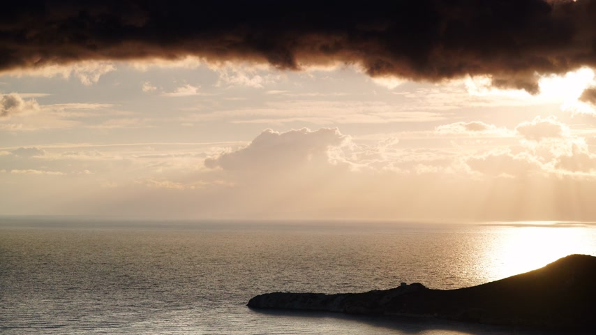 peloponnese : Greek coast after sunrise. Peloponnese Mani, time lapse