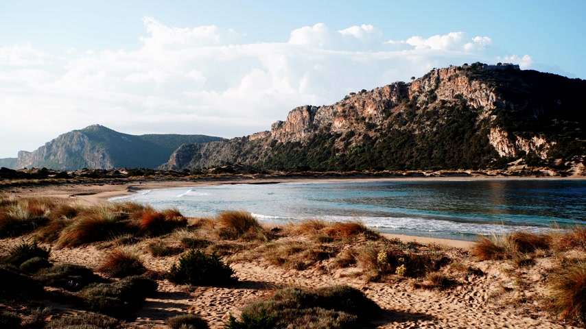 peloponnese : Voidokilia beach in Greece Stock Footage
