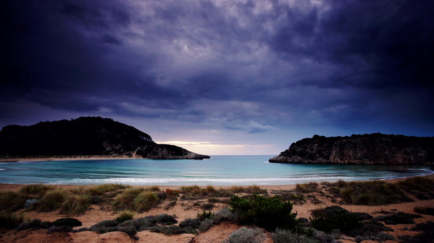 kumul : Greek Voidokilia beach and sky after sunset, time lapse