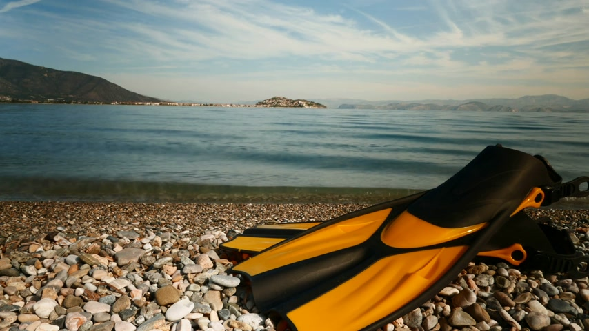 peloponnese : Yellow fins flippers on sea shore timelapse 4K Stock Footage
