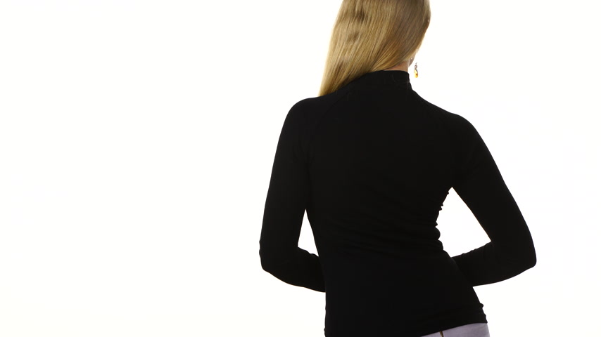 sleeve : Woman wearing a black long sleeve top rear view Stock Footage