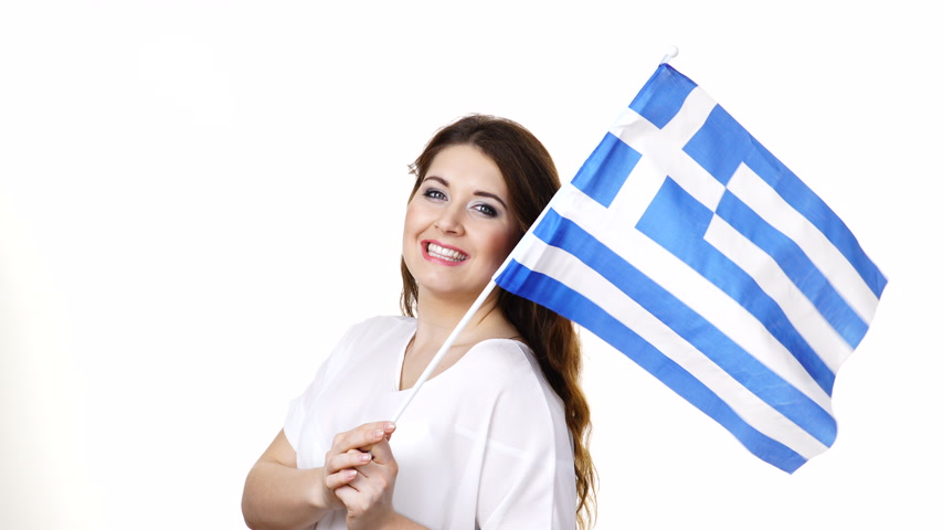convidar : Woman with greek flag inviting gesture