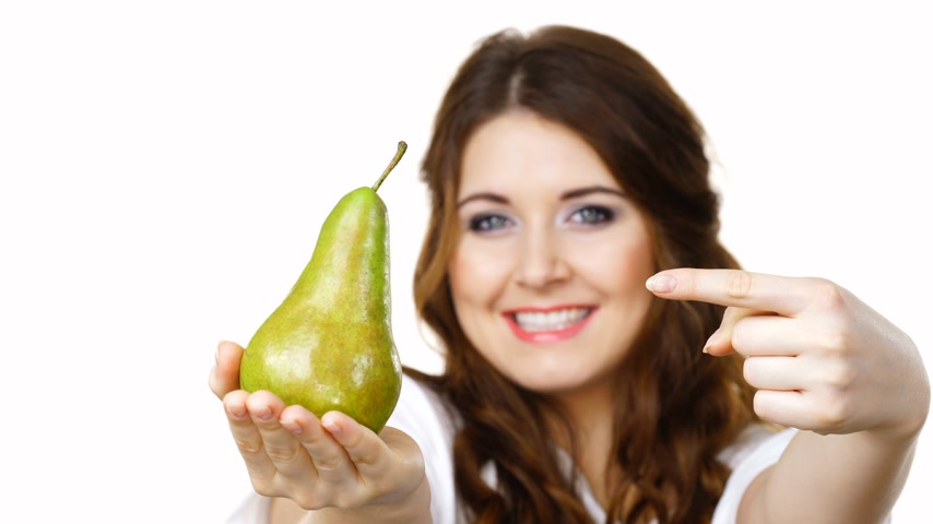 césar : Woman recommend to eat pear fruit, isolated