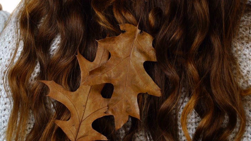 oak : Long brown hair with autumn leaves as background Stock Footage