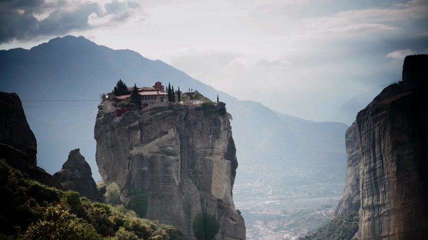 kalambaka : Cloudy sky over Trinity monastery in Meteora, Greece