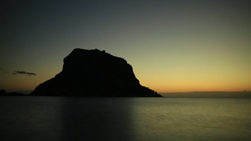 laconia : Monemvasia island at morning timelapse Stock Footage