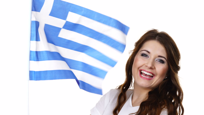 greece flag : Woman with greek waving flag, on white Stock Footage