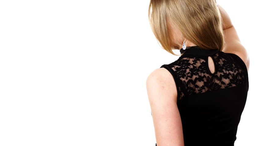 aparar : Woman presenting black outfit lace top back view