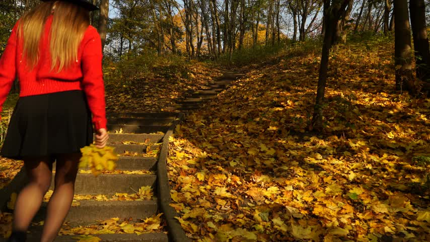 high heels : Woman girl walking on stairs in autumn park forest. 4K ProRes HQ codec. Stock Footage