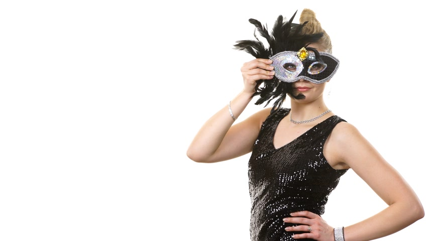 hiding : Woman in evening dress carnival mask on white