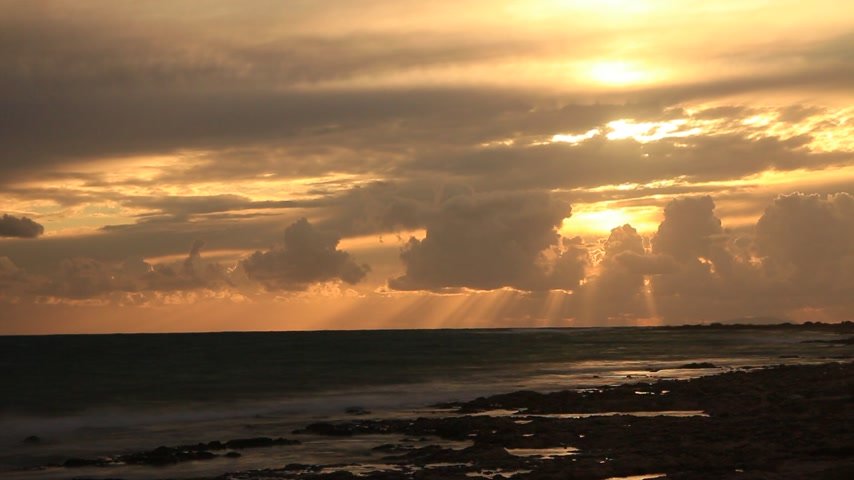 peloponnese : Sunset over sea surface time lapse