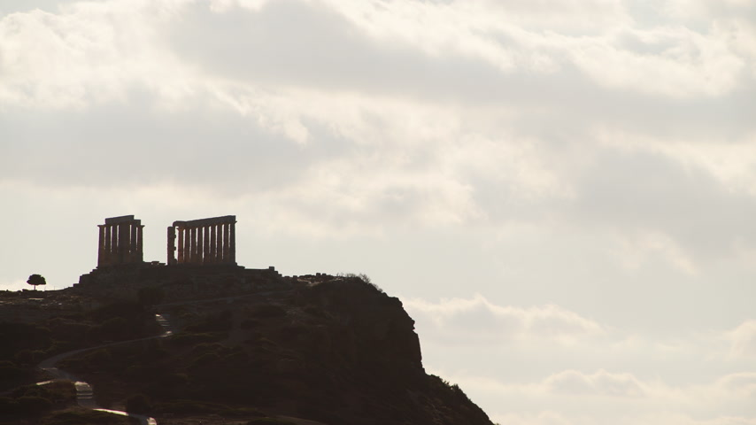 aegean sea : Greek temple of Poseidon, Cape Sounio