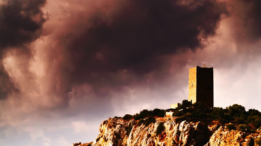 laconia : Stone tower house on Mani, Greece. Time lapse