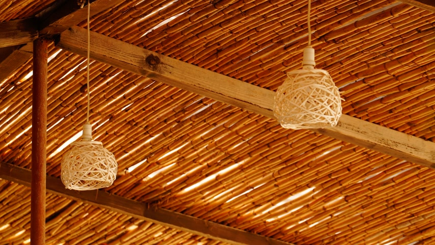 hasır : Wicker lamp in an outdoor cafe