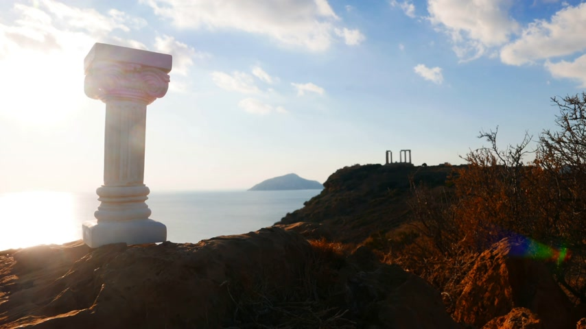kolumny : Greek column and Poseidon temple, Cape Sounio