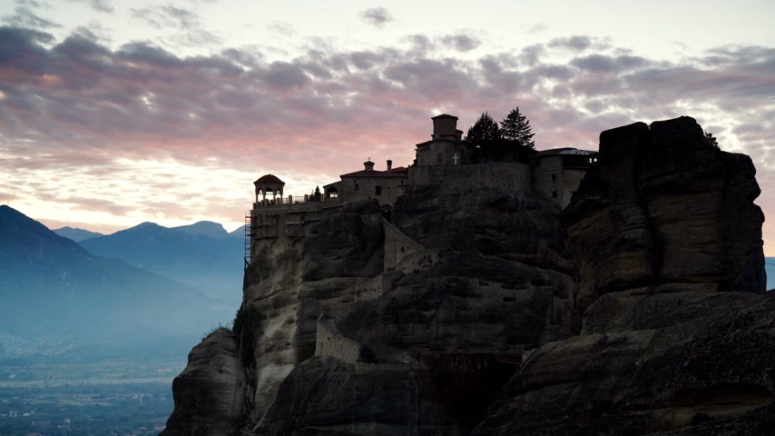 kalambaka : Sunset over Varlaam monastery in Meteora, Greece Stock Footage