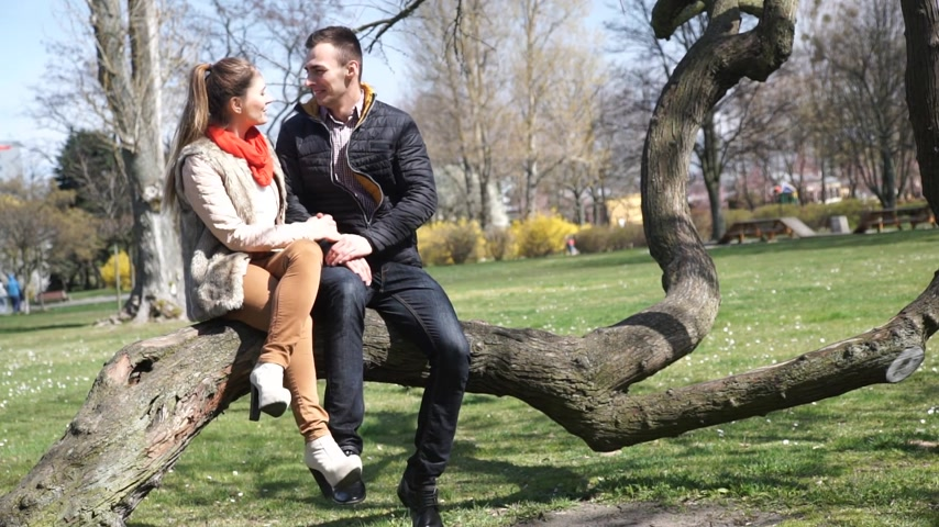 Happy young couple relaxing outdoor, woman and man sitting on tree in park