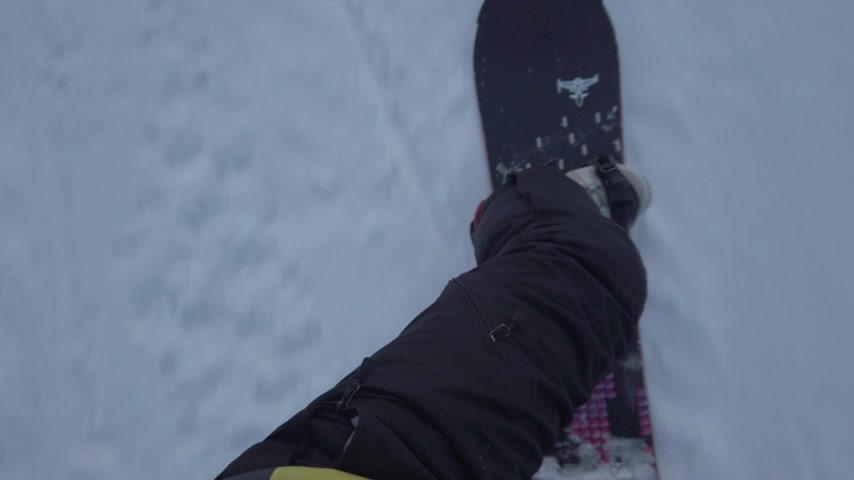 snowboard : Pov view snowboarder from top of mountain, Gudauri, Georgia, 4k