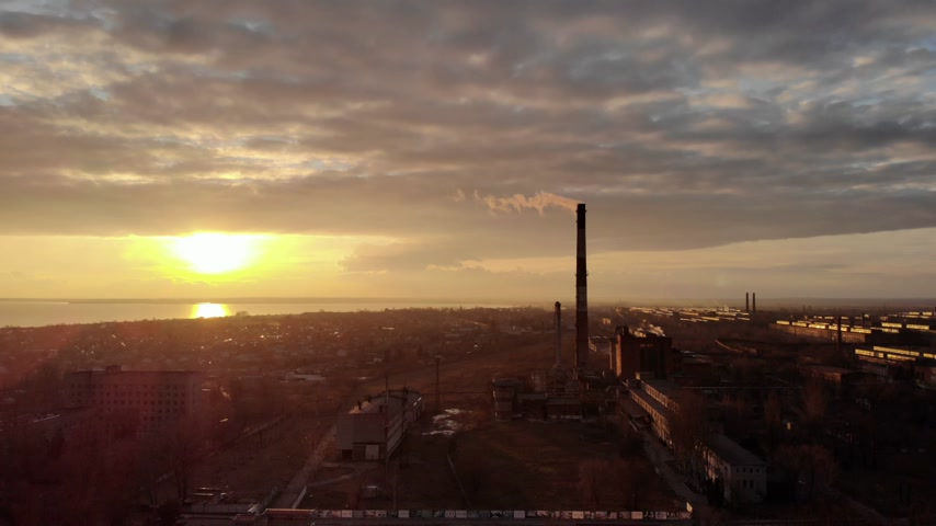 cooling tower : Industrial smoke zone at sunset, Ukraine Stock Footage