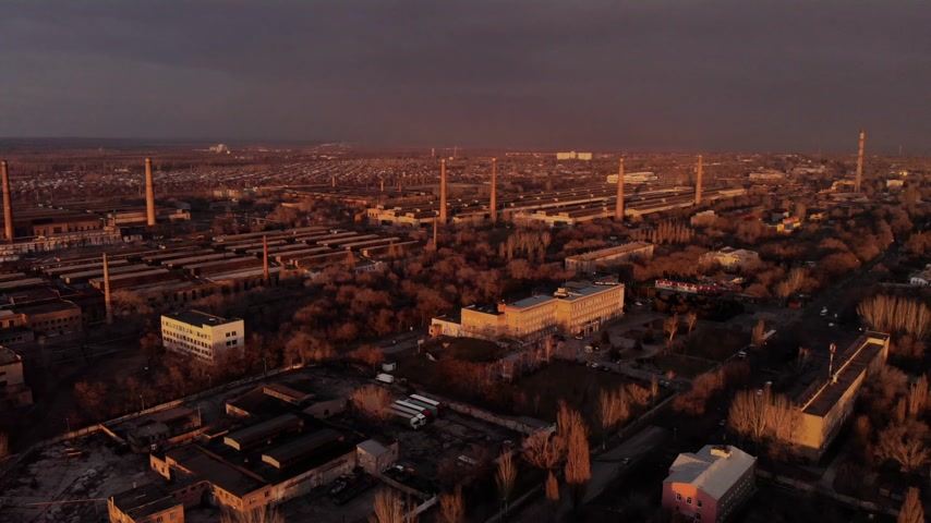 dioxid : Industrial smoke zone at sunset, Ukraine Stock mozgókép