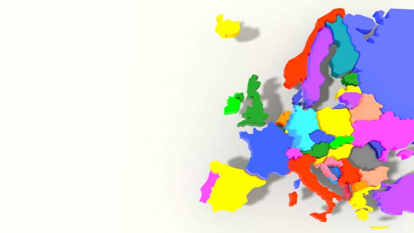 irlandês : Europe Map 3D color Stock Footage