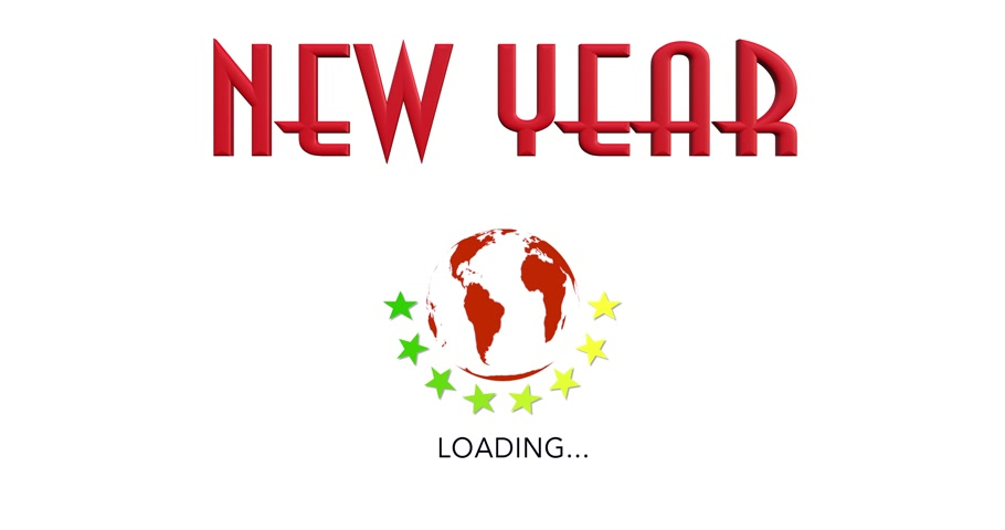 queda : Animation New Year with symbol loading