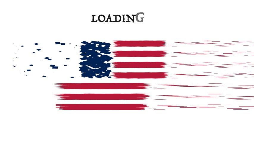 queda : USA Flag animation with moving loading