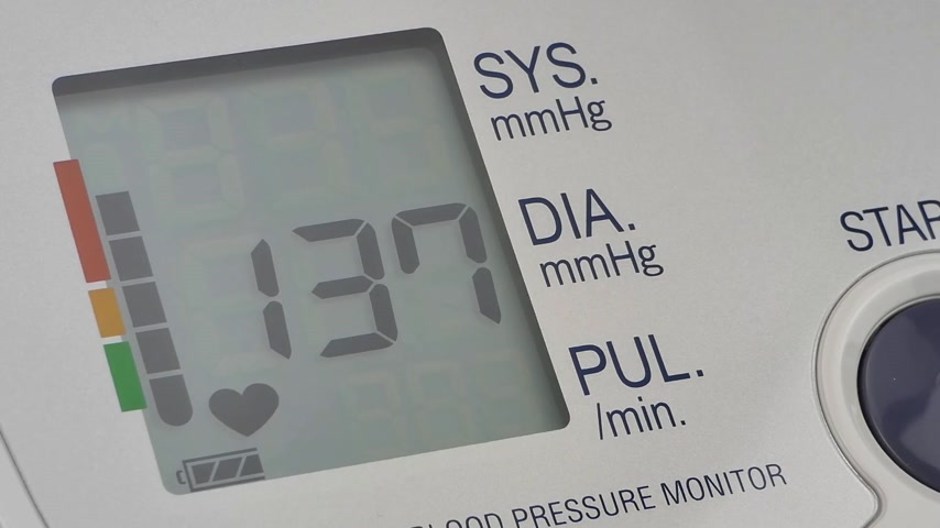 indicating : modern household digital blood pressure monitor, closeup