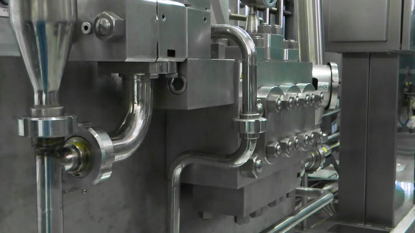 termostat : measurement sensors and pipes in the factory. equipment at the dairy plant Wideo
